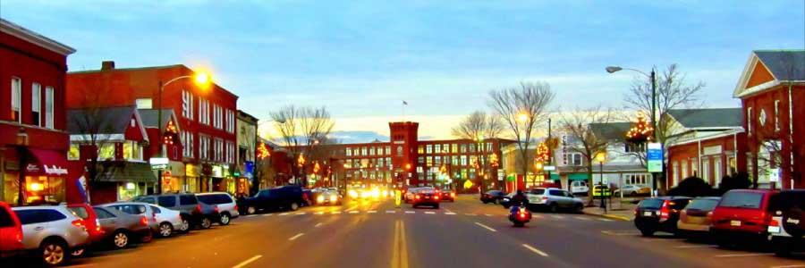 Brunswick Maine Street at dusk