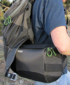 Rotating pack swivels on your hip for easy access
