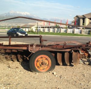 An old farm implement left abandoned in Herriman